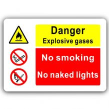 Danger Explosive Gases-Aluminium Metal Sign-150mmx100mm-Notice,Door,Smoking,Naked Lights,Harmful